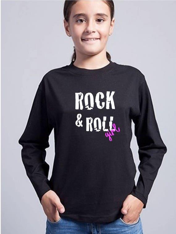 Round neck girl t-shirt ROCK & ROLL GIRL