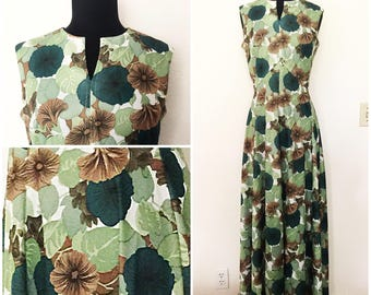 Original Vintage 1970's Green Foliage Sleeveless Maxi Dress, Vintage 70's Green Dress, 70's Sleeveless Maxi Dress, Size: Medium