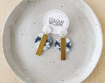 Circle Stick Earrings - White Granite & Marbled Grey with a brass rectangular bar.