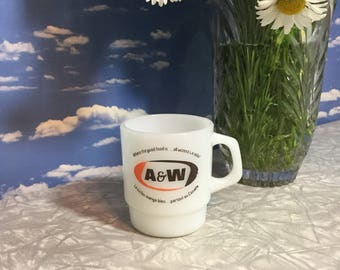 A & W Mug, authentic vintage FireKing white milk glass with old style logo, Where the good food is all acros Canada, French and English