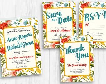 Floral Wedding Card Design - The Adventure Begins - Invitation Suite - Boho Save The Date - Floral Wedding Stationery - Bohemian Wedding Set