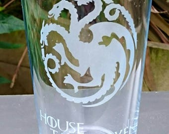 Game of Thrones House Targaryen Engraved Pint Glass