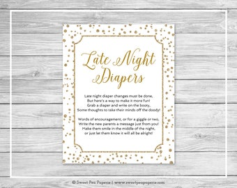 White and Gold Baby Shower Late Night Diapers Sign - Printable Baby Shower Late Night Diapers - White and Gold Confetti Baby Shower - SP149
