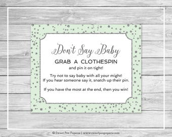 Mint and Silver Baby Shower Don't Say Baby Game - Printable Baby Shower Don't Say Baby Game - Mint and Silver Confetti Baby Shower - SP152