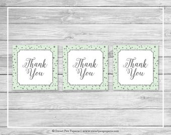 Mint and Silver Baby Shower Favor Thank You Tags - Printable Baby Shower Thank You Tags - Mint and Silver Baby Shower - Favor Tags - SP152