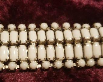 Vintage Milk Rhinestone Costume Jewelry Bracelet Mid Century Milk Rhinestone
