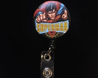 Superman -Nurse Retractable ID Badge Reel/ RN Badge Holder/Doctor Badge Reel/Nurse Badge Holder/Nursing Student Gifts