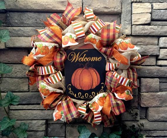 Pumpkin Wreath, Autumn Wreath, Fall Wreath, Farmhouse Wreath, Primitive Wreath, Burlap Wreath, Fall Decor, Primitive Fall Decor, Primitive