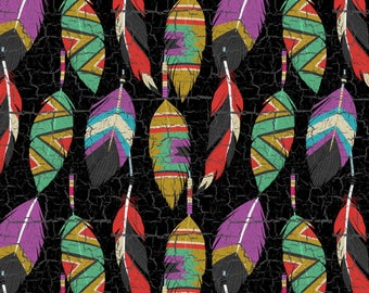 "Wild Wings Southwest Feathers 43"" wide premium 100% Cotton Fabric (SC159)"