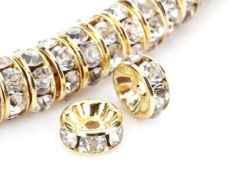 6mm Gold/Sliver Plated Crystal Rondelle Spacer Beads 100pcs Per Bag for Jewelery Making Craft, GPRB-6m