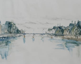 Original monoprint, View of the Seine River, Paris France