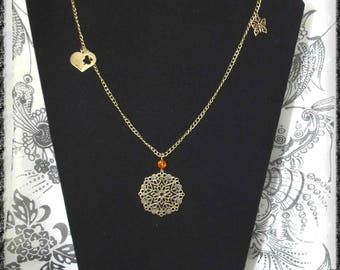 Bronze long necklace with a print, a heart, a butterfly and a bow