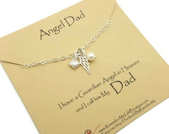 Angel Dad, Sterling Silver Memorial Necklace, Memorial Gift Idea, Remembrance Jewelry, Sympathy Gift, Loss of Dad, Loss of Father, Sympathy