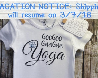 "Baby Yoga Onesie • Baby Yoga Bodysuit • ""GooGoo GaaGaa Yoga"",  (long sleeve or short sleeve bodysuit) [yoga baby gift idea]"