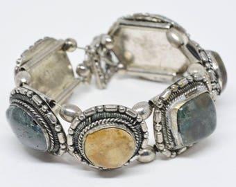 Large silver tone bracelet