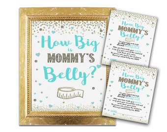 Baby Shower Game - How Big Is Mommy's Belly? - Teal and Gold Mint Shower Decor and Games Party Instant Download Boy Activity Ideas printable