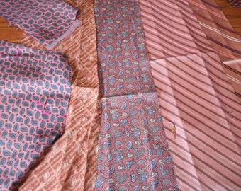 Pink  or Purple Silk Ties for Quilts or Crafts