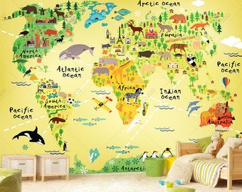 Explorer World Map Wall Mural, Children Map with Animals, Wallpaper, Wall décor, Wall decal, Nursery and room décor, Wall art