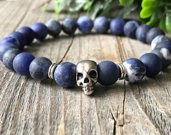 Gemstone skull bracelet, blue beaded bracelet, Stretch stacking bracelet, gemstone men jewelery, skull jewelery, rock bracelet, men gift