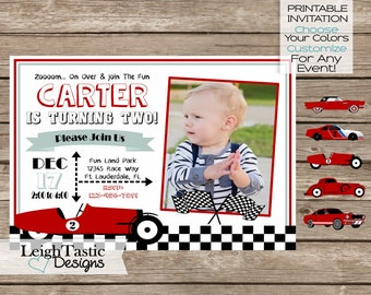 SALE CAR INVITATION - Printable Car Birthday, Race Car Birthday, Vintage Race Car Invitation, Car Party, Classic Car -Speedster Car
