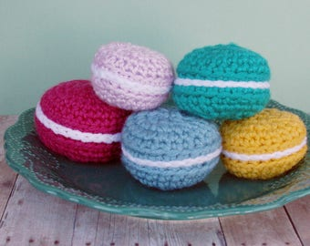 Macarons / Macaroons Set of Five Knit / Crochet / Stuffed Toys or Play Food