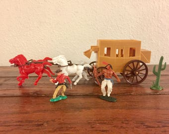 1960's Stagecoach with Cowboy, Indian and Cactus Toys / Comes with Everything Shown!