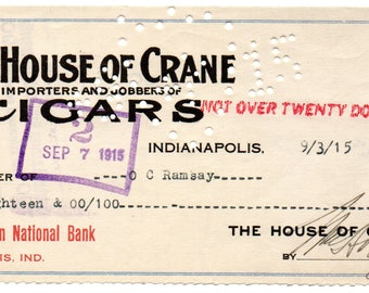 The House of Crane: Cigars, 1915 Check Indianapolis