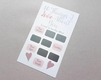 10 dingen die ik hou over u, reus Scratch Card, huwelijksgeschenk, Valentijnsdag, verjaardag cadeau, verloofde, overeenkomstengift, vriendin, vriend