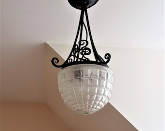 Antique and authentic French suspension 1920 s beautiful vintage Paris lamp-ceiling wrought iron and glass/illuminati10