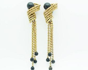 French Vintage Gold Drop Dangle Tassel Clip On Earrings Single Statement Earring