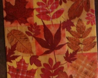 Set of 2 napkin paper napkin, autumn leaves red and Red