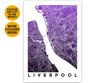 Liverpool map poster Travel gift Violet map print 1st Anniversary gift for Men gift for Women gift for Boyfriend gift for her Gift for him