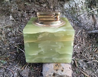 Vintage green onyx desk lighter