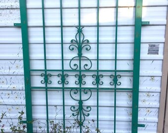 Vintage Wrought Iron Fence Panel Gate Fleur De Lis Scroll Work