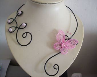 Necklace wedding bride aluminum wire black Butterfly pink evening ceremony parties