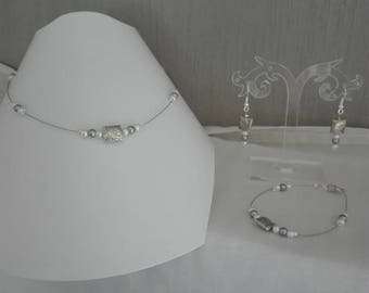set of pearls, set of 3 PCs White Pearl Jewelry square /grises silver evening parties