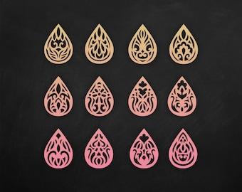 SVG Faux leather earrings Set, Teardrop Pendant laser cut templates, DXF, EPS Cutting File Cricut maker/Silhouette Cameo bijouterie design