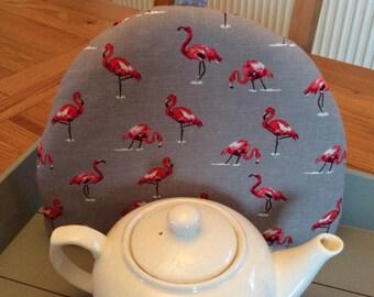 Tea cosy, Tea cozy in a grey cotton linen mix flamingo fabric