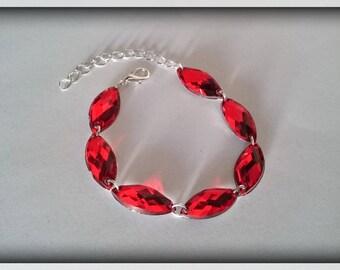 Bracelet red navettes flamboyant adjustable _