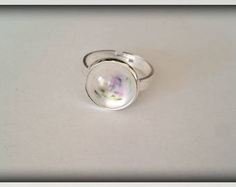 Pearlescent effect resin Cabochon Adjustable ring