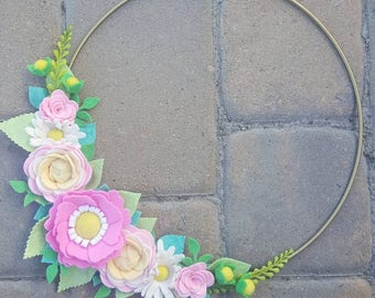 Metal Hoop Wreath ~ Hoop Wreath ~ Felt Floral Wreath ~ Felt Wreath ~ Floral Wreath ~ Wall Decor ~ Nursery Decor ~ Gallery Wall ~ Door Decor