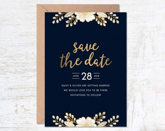 Gold Save the Date, Save the Date Template, Wedding Invitation Template, Luxury Invitation Set, Save the Date Printable, Navy Save the Date