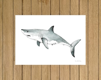 "Great White Shark, Shark, Poster, Giclée Print, Watercolor Illustration, Home Decor, Kids Room, Nursery Decor, A5, 8.5""x11"", A4, A3, 13""x19"""