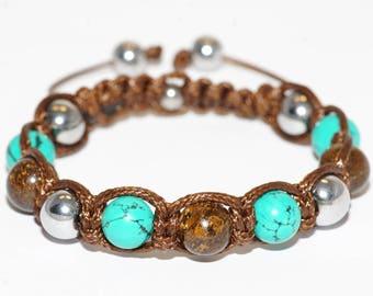 Bracelet with gemstones Turquoise Sinkiang/Bronzite/Hematite stone bracelet in Brown
