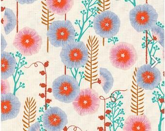 Santa Fe- Hollyhocks- Natural- Sarah Watts- Cotton + Steel