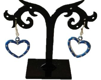 Blue acrylic heart earrings