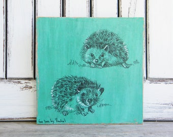 Hedgehog Print On wood, Woodland Nursery Decor, Woodland Animals, Kids Room Decor, Wood signs, Nursery Art, Cute Animals, Kids Art
