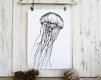 Nautical Wall Art, Jellyfish Print, Sea Life Poster, Natural Art, Nature Prints, Dorm Decor, Bedroom Decor, Gift Under 5, Black and White