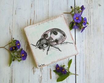 Ladybug Print, Ladybug Gifts, Miniature picture, Cute Animals, Kids room decor, Wood sign, Nursery decor, Ladybug Birthday,Stocking Stuffer