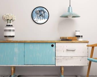 Blue White Wall Clock, Wolf Wall Clock, Wolf Art, Printed Wall clock, Wall Clock Wood, Cabin Decor, Gray Wolf Decor, Man Cave Decor
